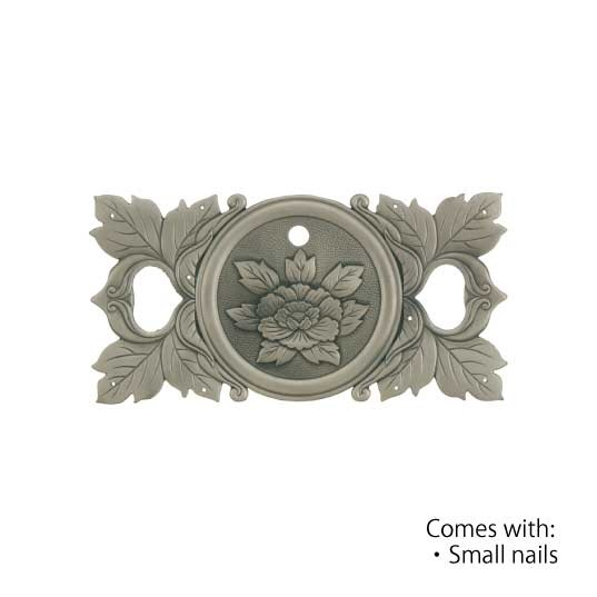 Peony8 - Large  Antiq Silver-ORNAMENTAL KEY PLATE-CABINET HARDWARE-
